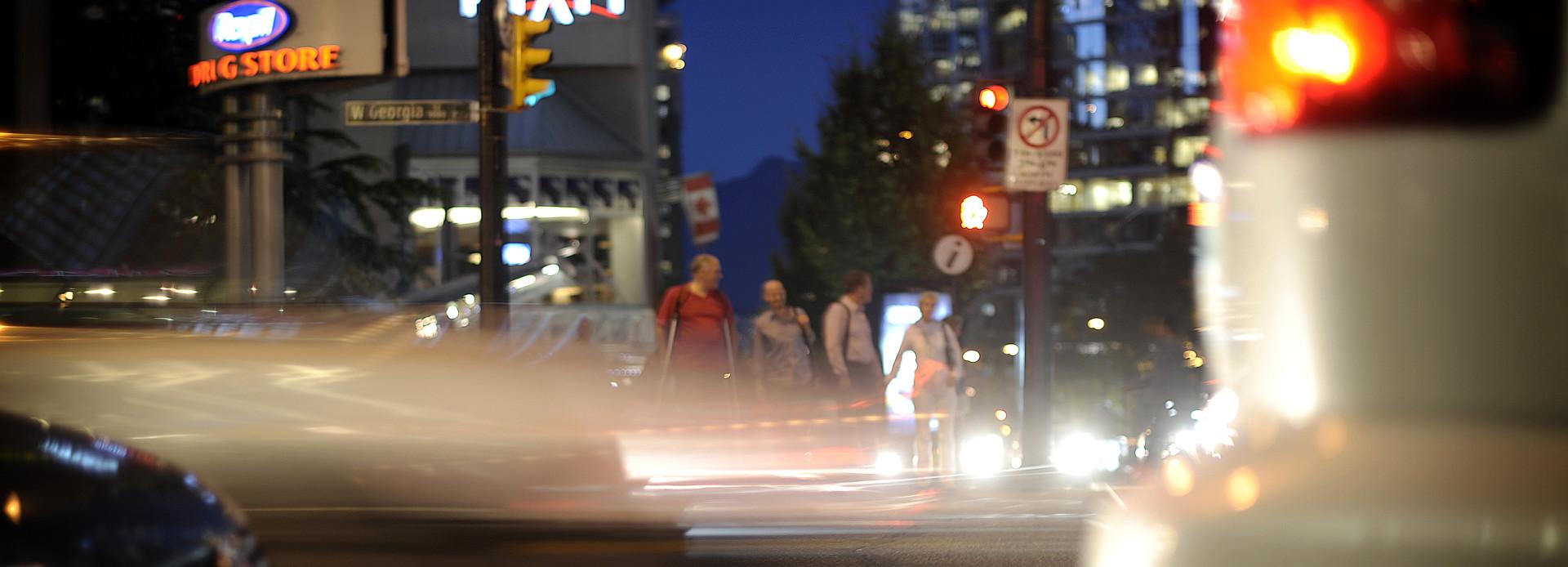 Kanada Vancouver Straßen bei Nacht