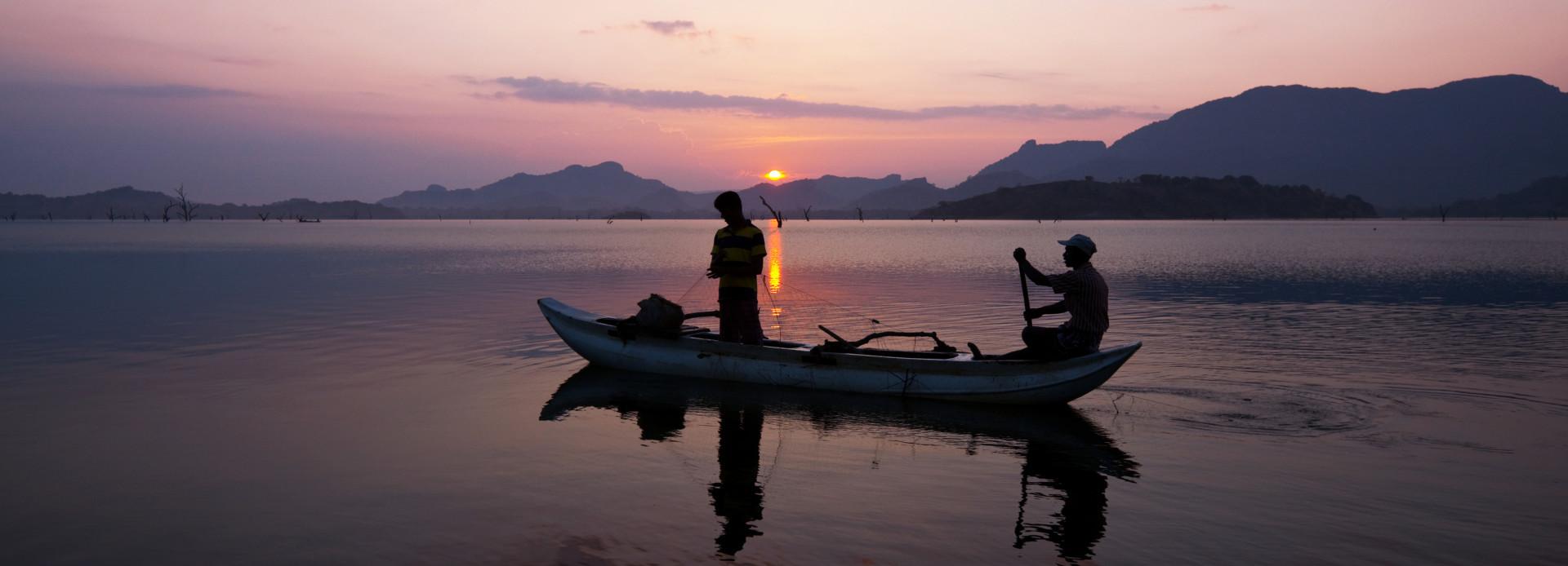 Sri Lanka Fischer im Sonnenuntergang