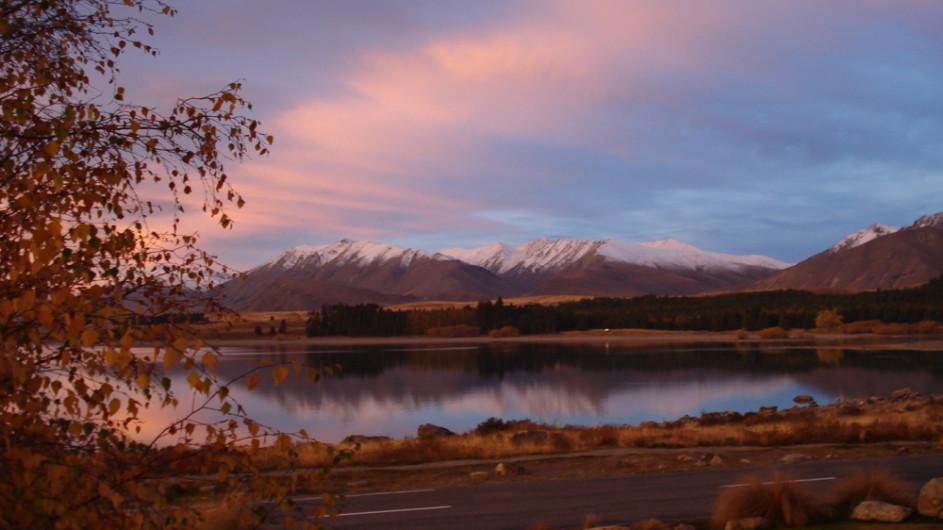 Neuseeland Sonnenuntergang Southern Alps