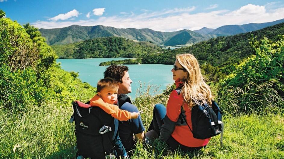 Neuseeland Familie am Queen Charlotte Sound