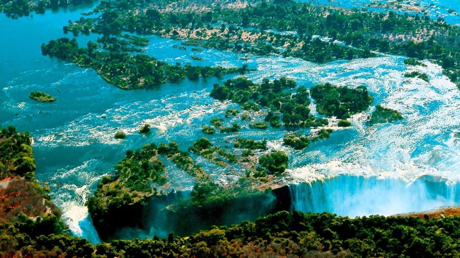 Zimbabwe Victoria Wasserfälle aus der Luft