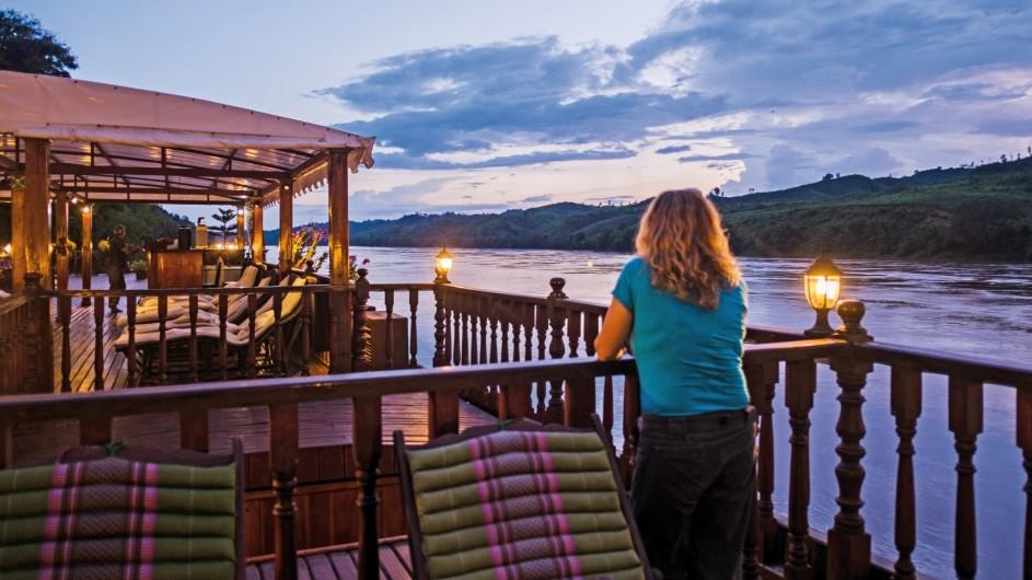 Mekong Explorer Sonnenuntergang an Deck