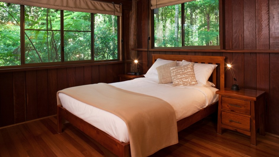 Australien Atherton Tablelands Rose Gums Wilderness Retreat Schlafzimmer