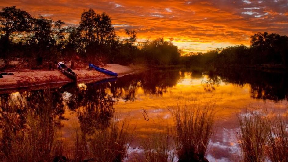 Australien Sonnenuntergang am Katherine River