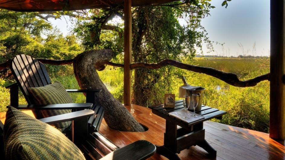 Botswana Okavango Delta Kanana Zelt Terrasse