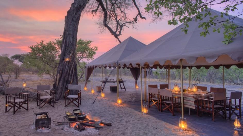 Botswana Savute under Canvas Zeltplatz abends