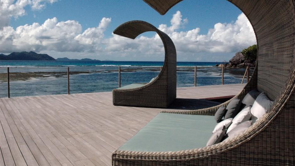 Seychellen La Digue Domaine de L´Orangeraie Sonnenbetten