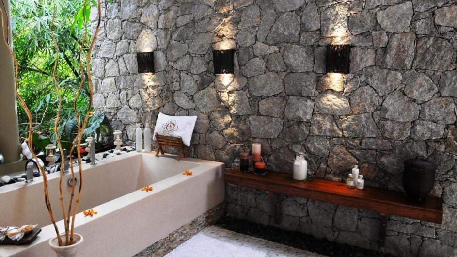 Seychellen La Digue Domaine de L´Orangeraie Villa de Charme Badezimmer