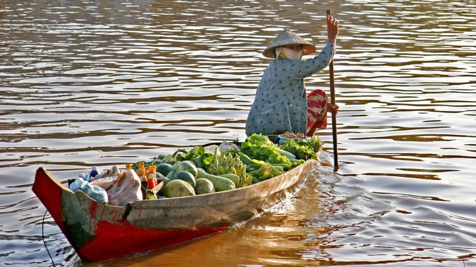 Vietnam Schwimmender Markt im Mekong Delta