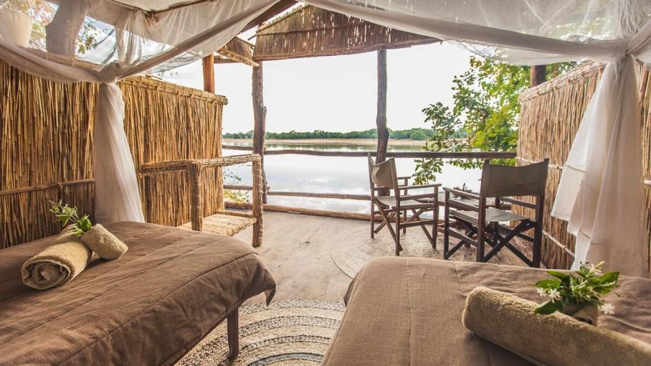 Zambia Island Bush Lodge Zimmer mit Aussicht