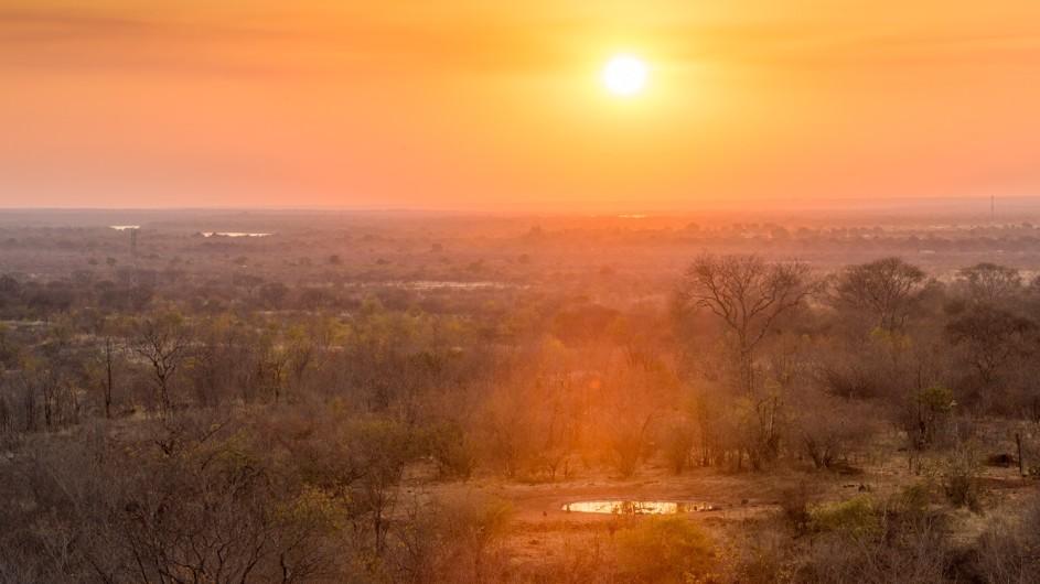 Zambia Stanley Safari Lodge Aussicht Sonnenuntergang
