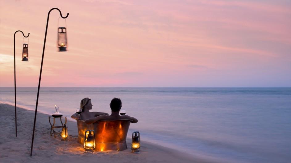 Mozambique Benguerra Island Lodge Badewanne am Strand