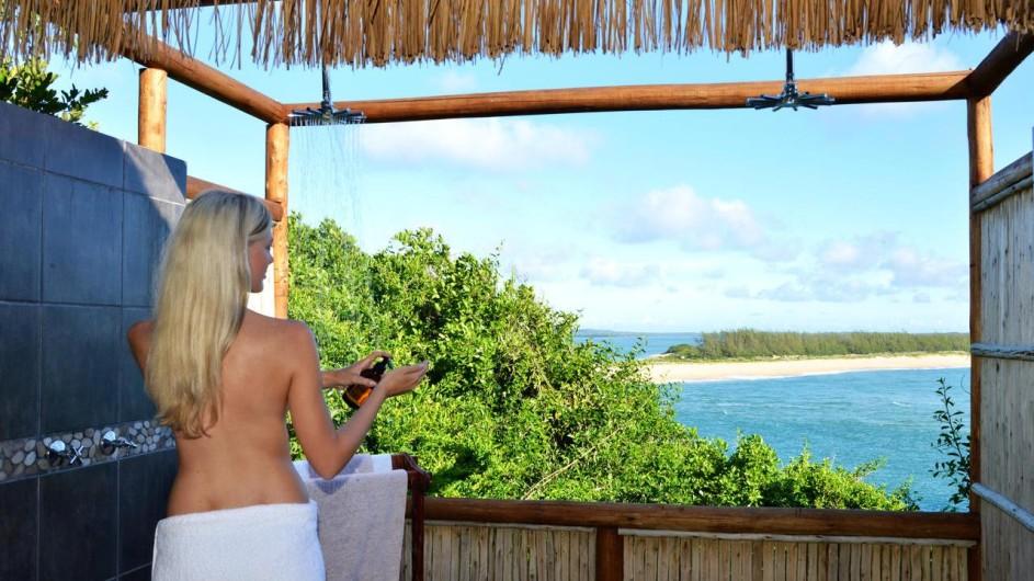 Mozambique Santa Maria Peninsula Machangulu Beach Lodge Außendusche