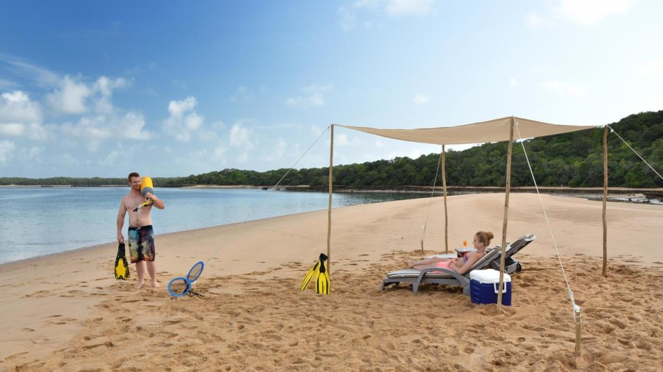 Mozambique Santa Maria Peninsula Machangulu Beach Lodge Picknick beim Tauchen