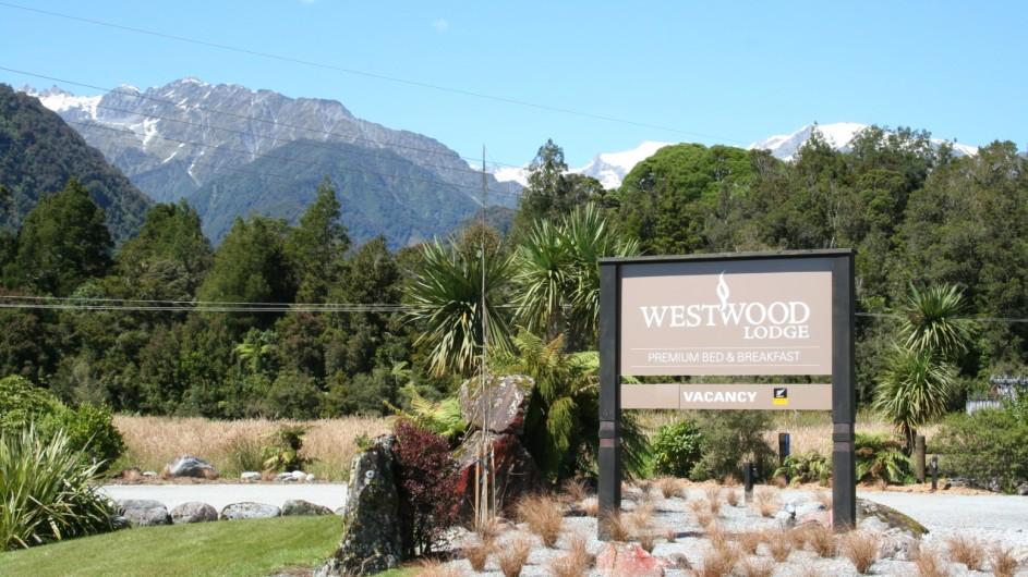 Neuseeland Franz Josef Gletscher Westwood Lodge Straßenschild