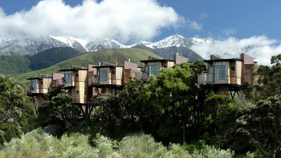 Neuseeland Kaikoura Hapuku Lodge Ansicht Baumhäuse
