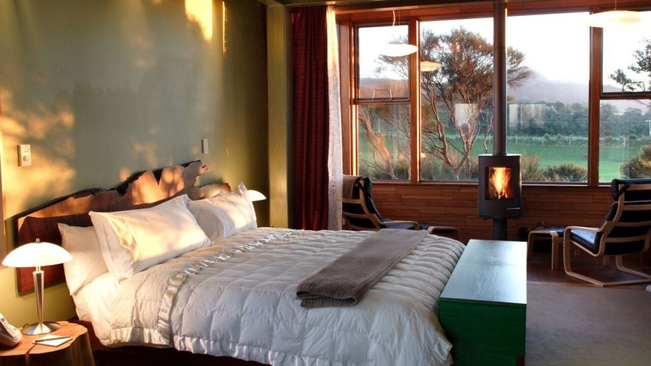 Neuseeland Kaikoura Hapuku Lodge Baumhaus Schlafzimmer