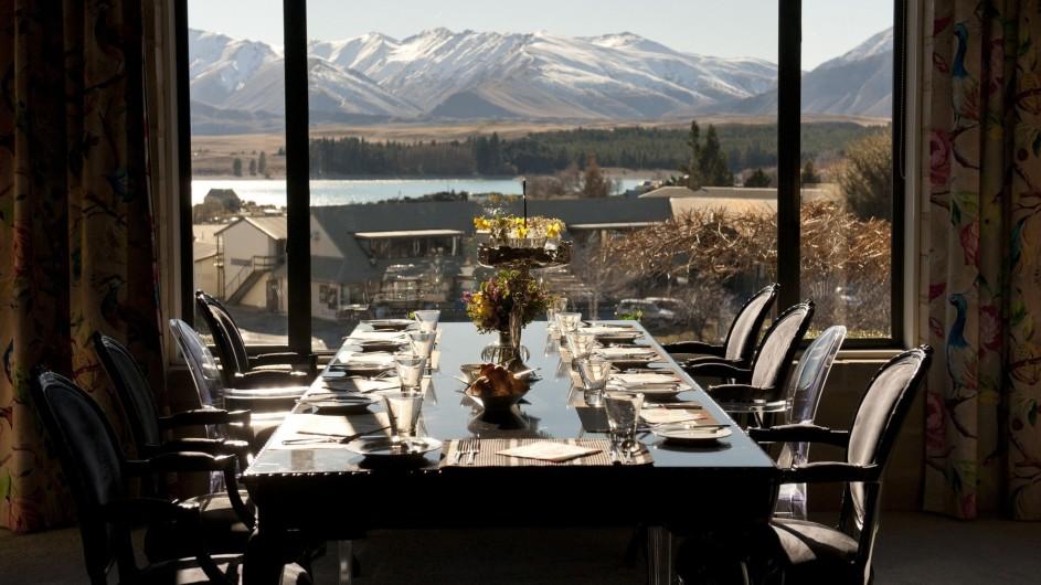Neuseeland Lake Tekapo Luxury Lodge Essen mit Aussicht