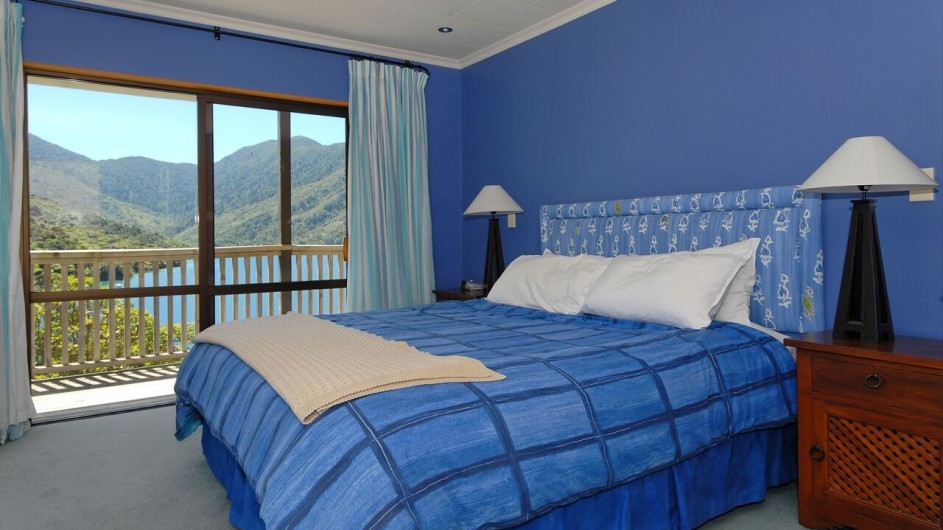 Neuseeland Marlborough Sound Punga Cove Resort Penthouse Suite Schlafzimmer