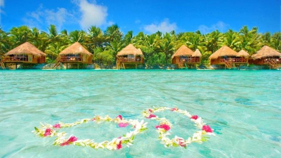 Cook Inseln Aitutaki Lagoon REsort Overwater Bungalows Ansicht