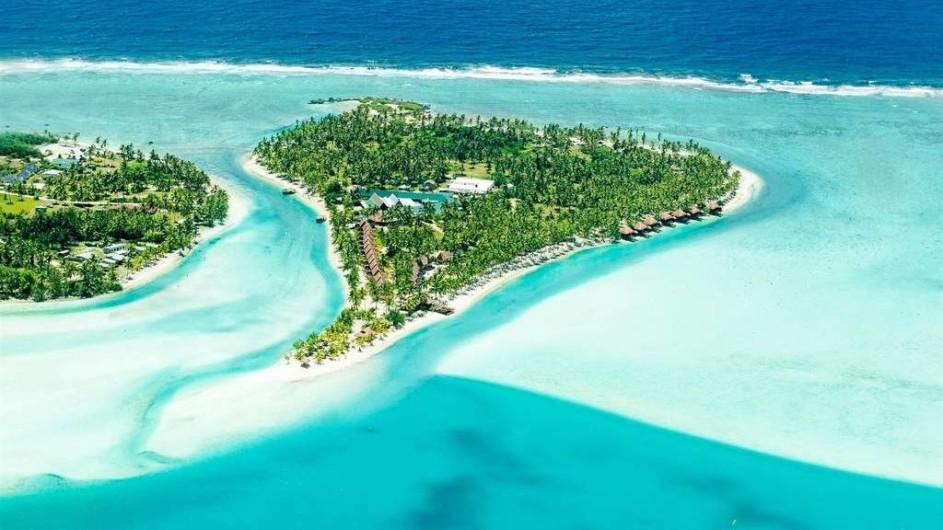 Cook Inseln Aitutaki Lagoon Resort Ansicht auf Motu