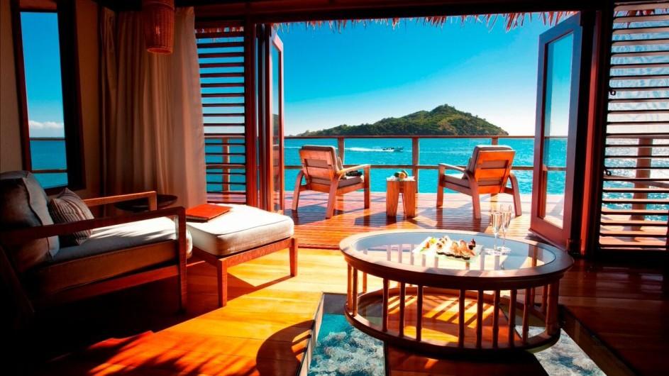 Fiji Inseln Likuliku Lagoon Resort Overwater Bungalow Aussicht