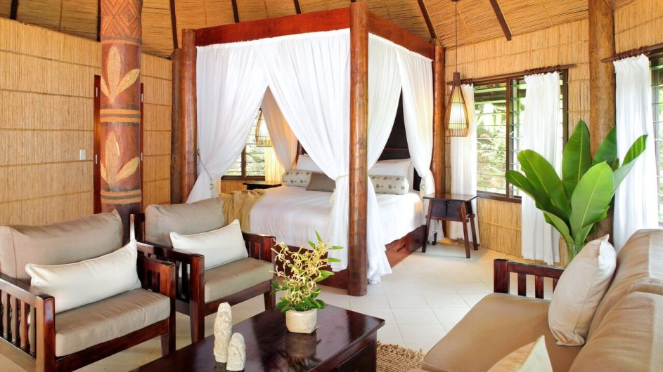 Fiji Inseln Taveuni Matangi Island Resort Strand Bungalow Schlafzimmer