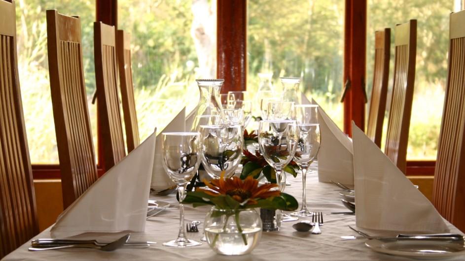 Südafrika Addo Nationalpark Woodall Country House Dinner Tisch