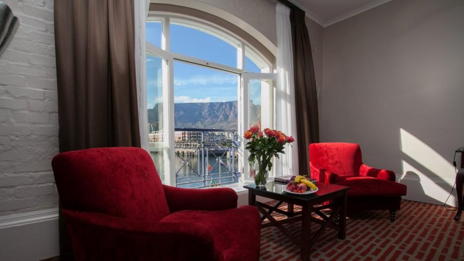 Südafrika Kapstadt Victoria & Alfred Hotel Zmmer mit Aussicht auf den Tafelberg