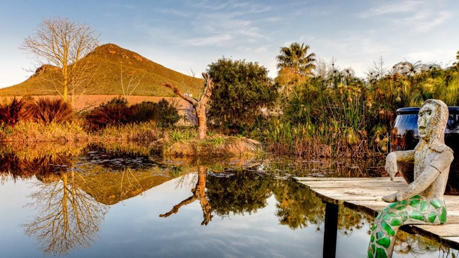 Südafrika Weinland Fraai Uiticht Gästefarm Garten