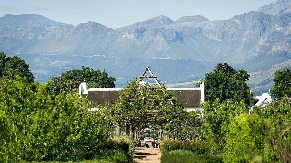 Südafrika Weinland Babylonstoren Farmhotel Gartenansicht