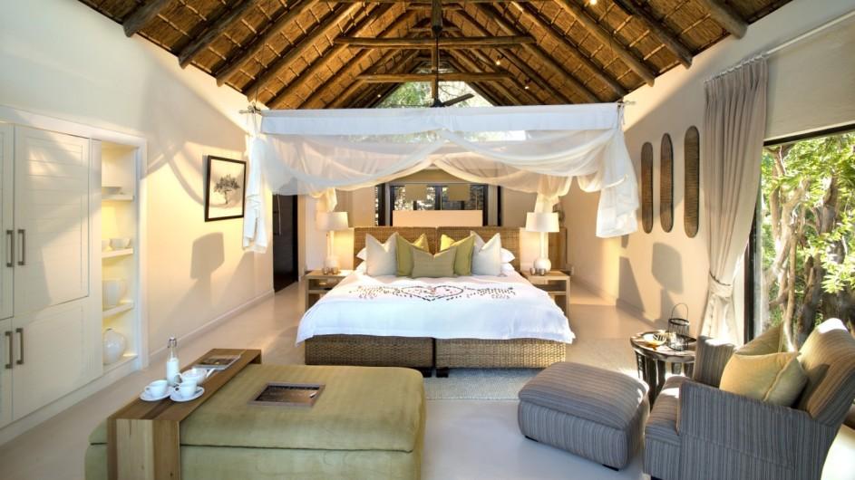 Südafrika Sabi Sand Game Reserve Lion Sands River Lodge Schlafzimmer