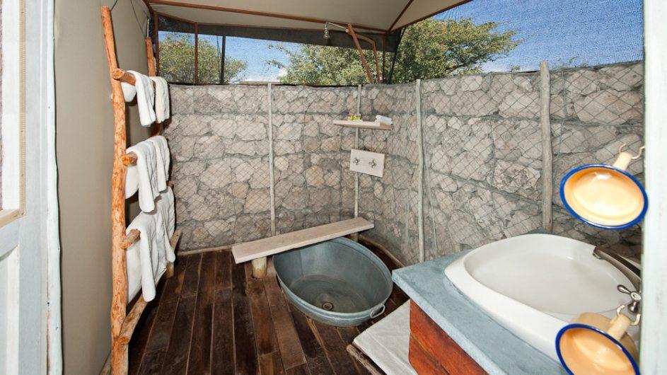 Namibia Etosha Nationalpar Anderssons Camp Ansicht Badezimmer
