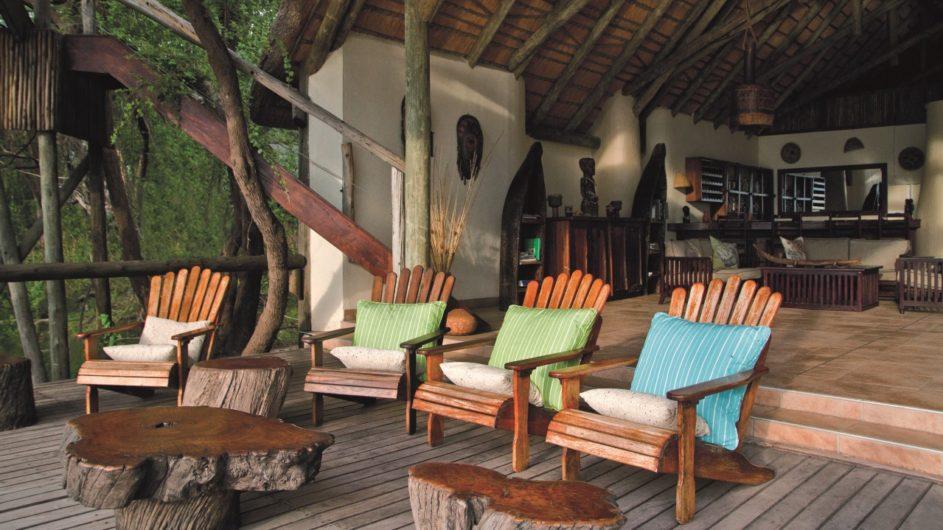Namibia Caprivi Lianshulu Lodge Terrasse