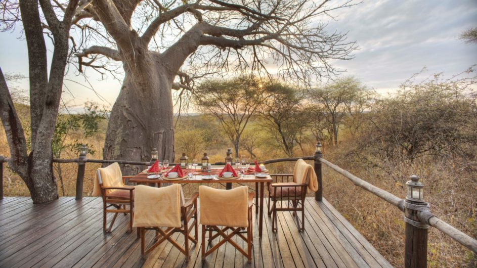 Tanzania Tarangire Nationalpark Sailia Olivers Camp Dinner Terrasse