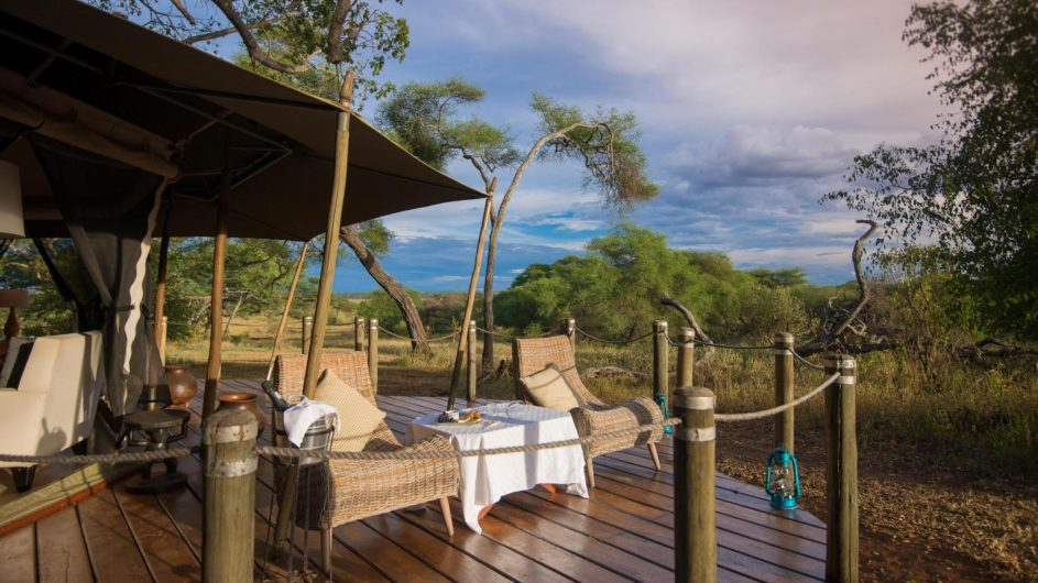 Tanzania Tarangire Nationalpark Sanctuary Swala Camp Zimmer Terrasse
