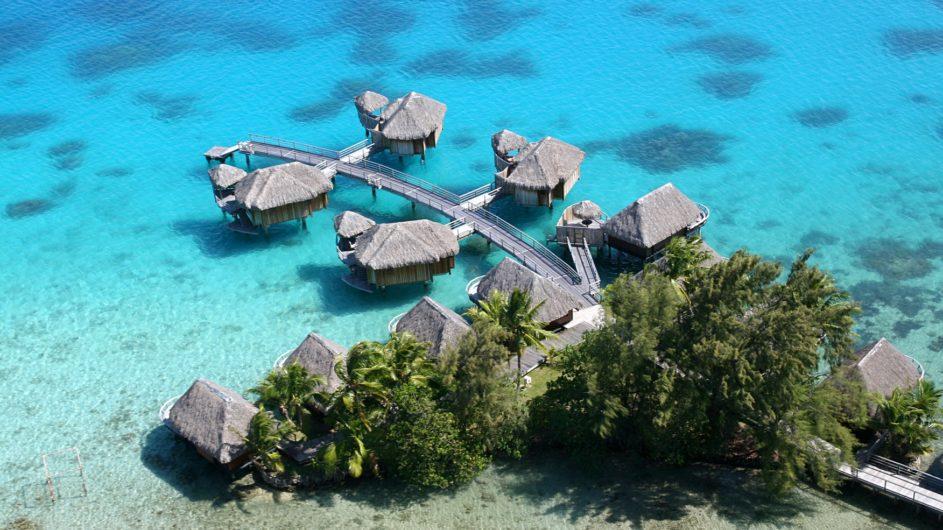 Französisch Polynesien Bora Bora Sofitel Marara Beach Resort Overwater Bungalows Ansicht von oben