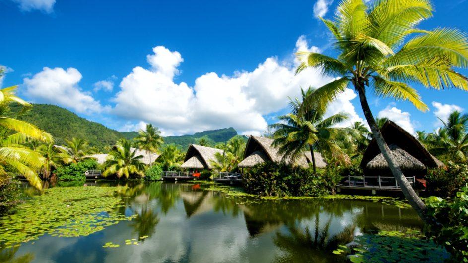Französisch Polynesien Huahine Maitai Lapita Village Ansicht