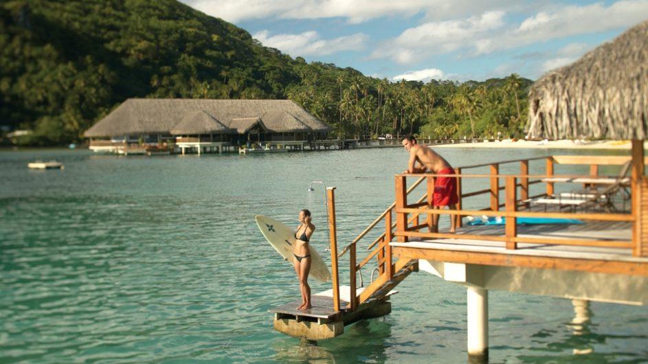 Französisch Polynesien Huahine Royal Huahine Hotel Overwater Bungalow Terrasse