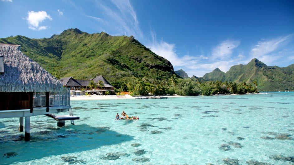 Französisch Polyneisen Moorea Hilton Moorea Lagoon Resort Overwater Bungalow Ausblick
