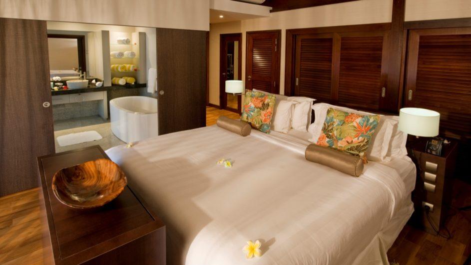 Französisch Polynesien Hilton Moorea Lagoon Resort Garden Pool Suite Schlafzimmer