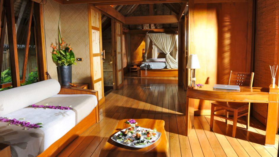 Französisch Polynesien Tahai Island Resort Beach Villa innen