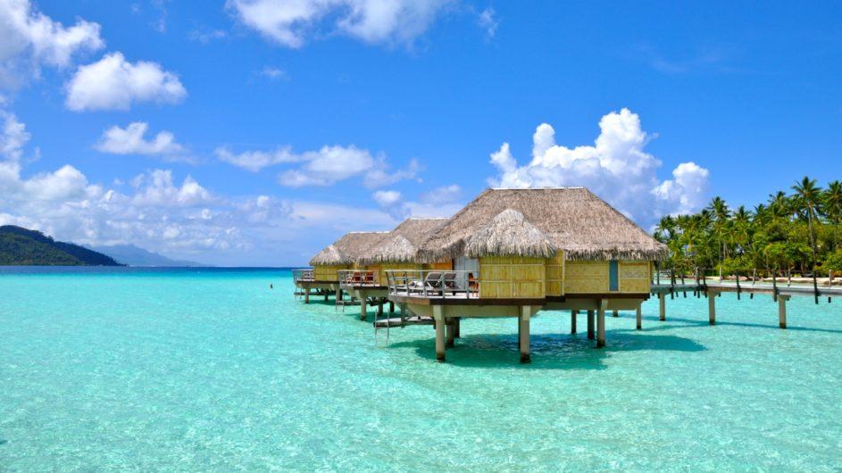 Französisch Polynesien Tahai Island Resort Overwater Bungalow Ansicht