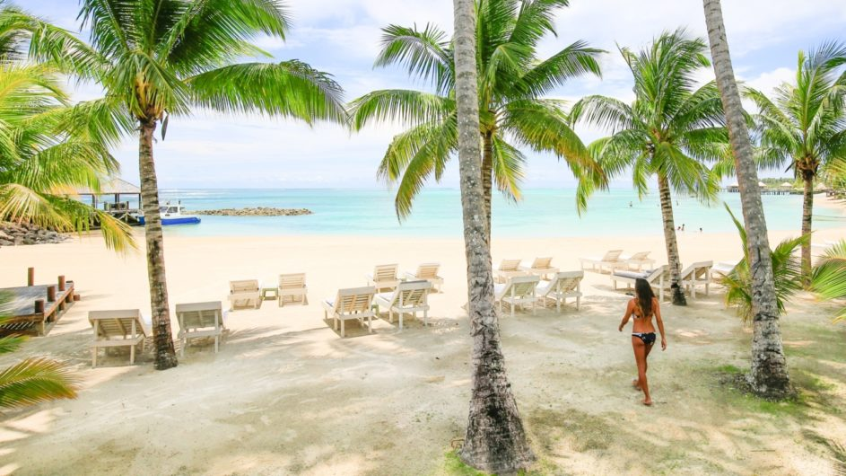 Samoa Upolu Sinalei Reef Reef Resort Strand mit Palmen