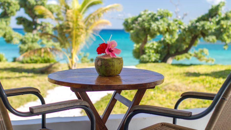 Tonga Haapai Sandy Beach Resort Ausblick Terrasse